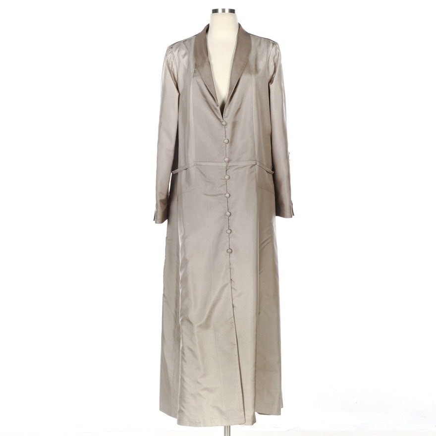 Pamella Roland Grey Ombré Button Long Jacket