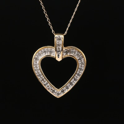 10K Diamond Heart Pendant Necklace