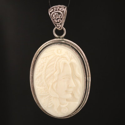 Sterling Resin Cameo Pendant