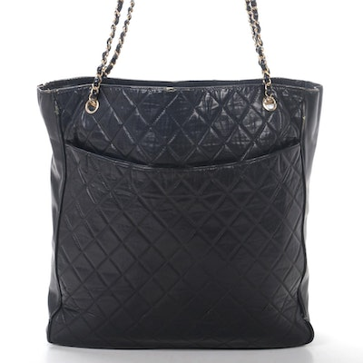 Chanel Chain Strap Tote in Quilted Black Lambskin Leather