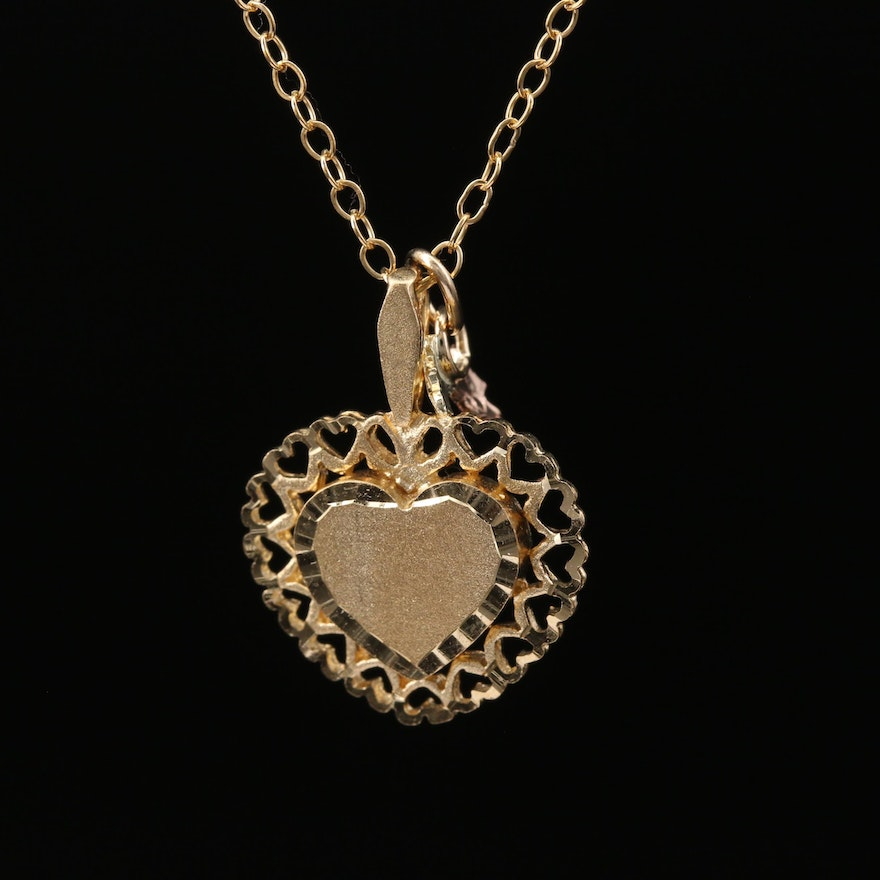 10K Heart Pendant on Gold Filled Cable Chain Necklace