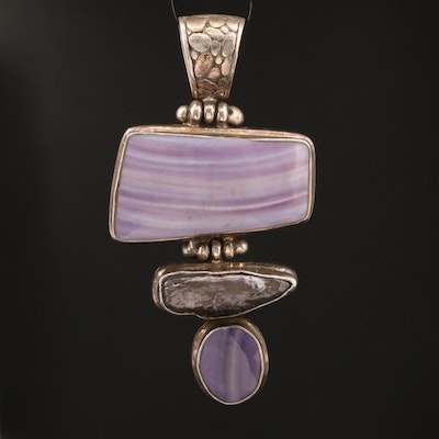 Sterling Silver Agate and Pearl Pendant with Cobblestone Style Bail