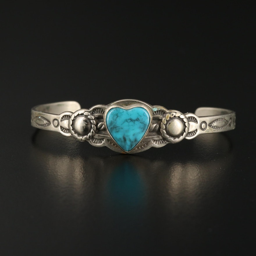 Heart Shaped Faux Turquoise Cuff