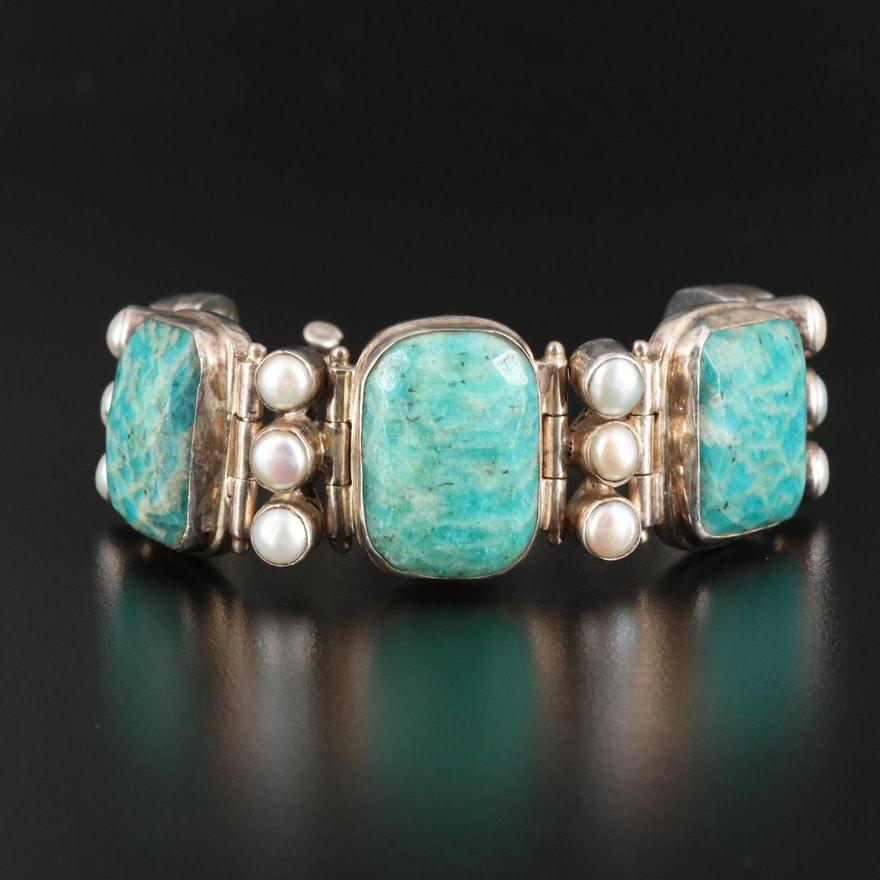 Sterling Silver Amazonite and Pearl Bracelet