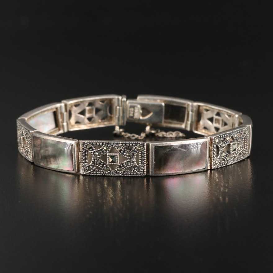 Sterling Mother of Pearl and Marcasite Bracelet