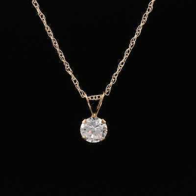 10K Cubic Zirconia Solitaire Pendant Necklace