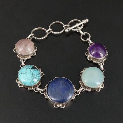 Sterling Bracelet Including Lapis Lazuli, Rose Quartz and Amethyst