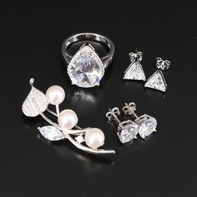 Assorted Sterling Silver Jewelry Featuring Pearl and Cubic Zirconia Accents