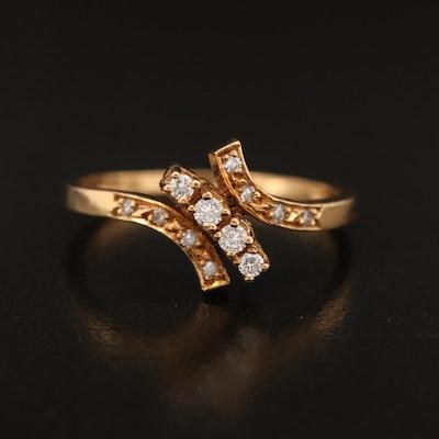18K Diamond Bypass Ring