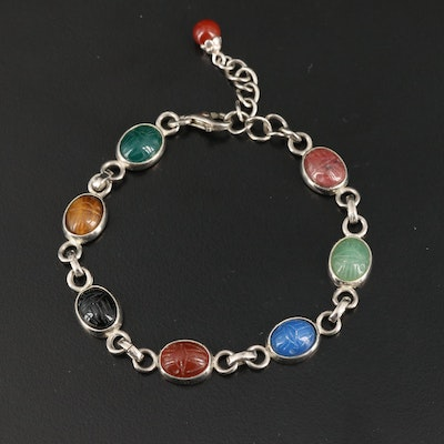 Sterling Silver Scarab Bracelet with Tiger's Eye, Rhodolite and Chalcedony