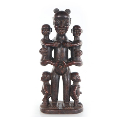 Bamun-Bamileke Style Carved Wood Maternity Figure, Cameroon
