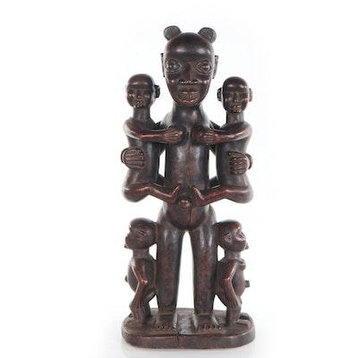 Bamun-Bamileke Style Carved Wood Maternity Figure, Cameroon