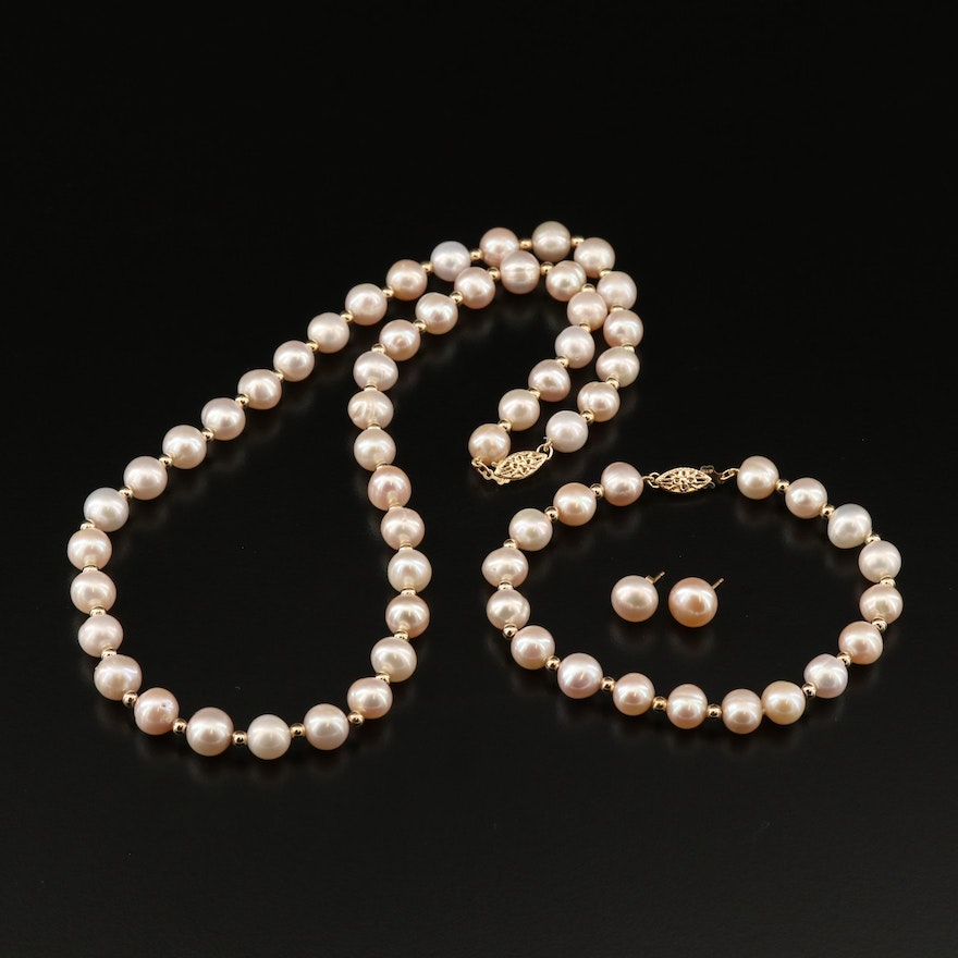 14K Pearl Set with Necklace, Bracelet and Stud Earrings