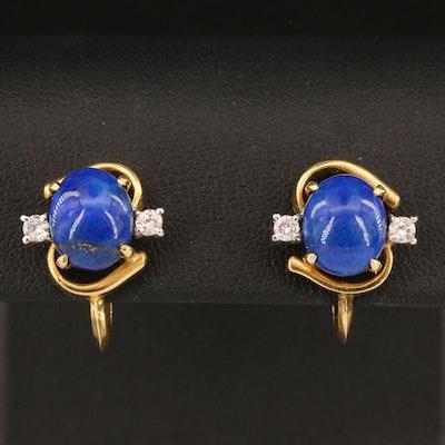 Vintage 14K Lapis Lazuli and Diamond French Screw Back Earrings