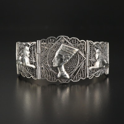 Egyptian Motif Sterling Silver Filigree Panel Bracelet