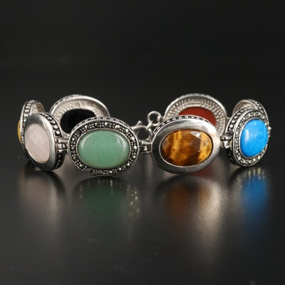 Sterling Silver Bezel Set Bracelet Including Jasper, Tiger's Eye and Rose Quartz