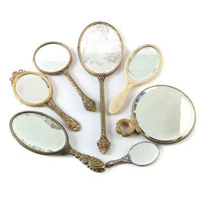Victorian Style Gilt Metal, Silver Plate, and Celluloid Hand Mirrors