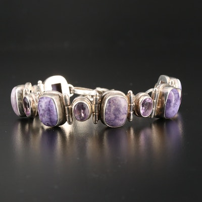 Sterling Silver Charoite and Amethyst Link Bracelet