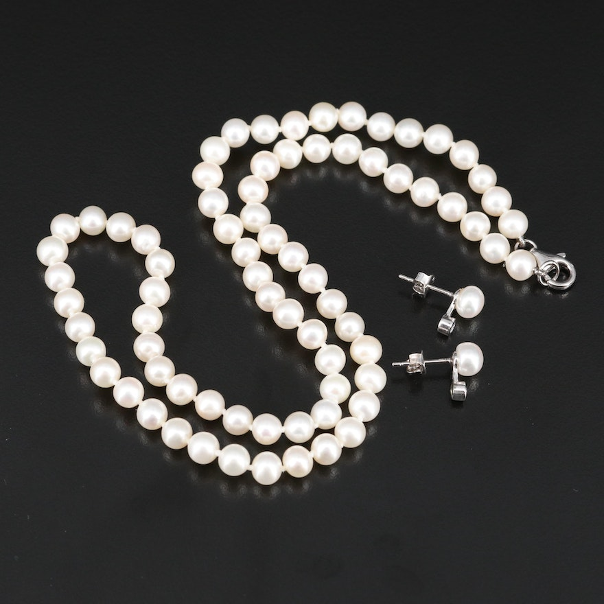 Knotted Pearl Necklace with Pearl and Cubic Zirconia Earrings