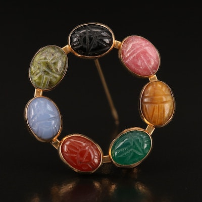 14K Carved Multi-Gemstone Scarab Circle Brooch