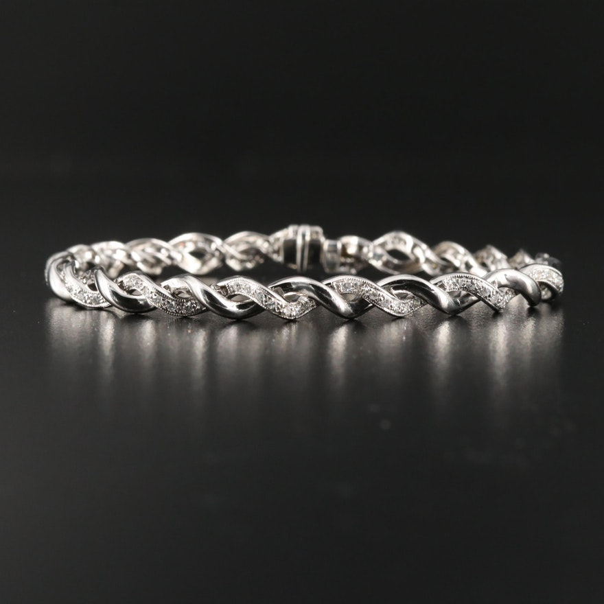 14K Diamond Twist Bracelet
