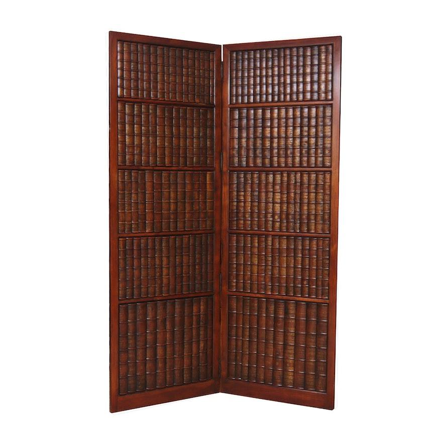 Bookshelf-Form Parcel-Gilt Composite and Wooden Folding Room Divider