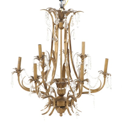 Italian Mid Century Gilt Metal Chandelier with Hanging Prisms, Mid 20th Century
