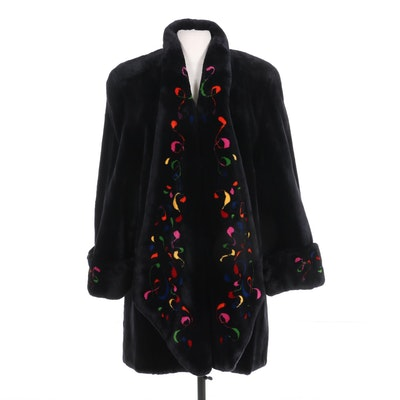 Watson Sheared Beaver Fur Open-Front Swing Coat with Multicolor Design, Vintage