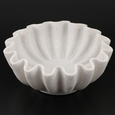 "Annie Selke ""Darci"" Carved Marble Wave Bowl"