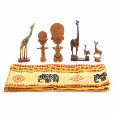 Indian and Kenyan Hand-Carved Souvenirs Including Horn Giraffe