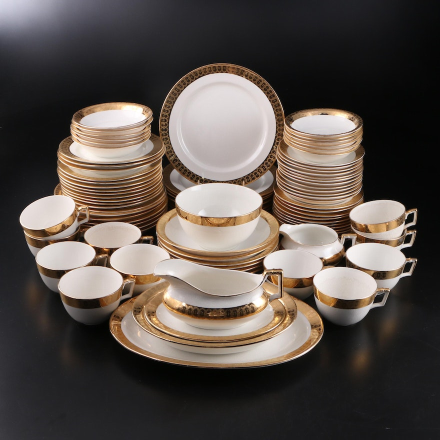 Encrusted 18K Gold Accented Earthenware Dinnerware, 20th Century