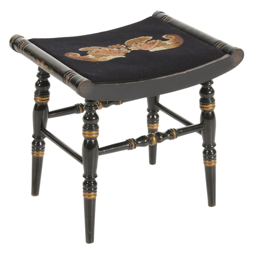 Hitchcock Stencil-Painted Black Stool with Needlepoint Seat, Mid-20th Century