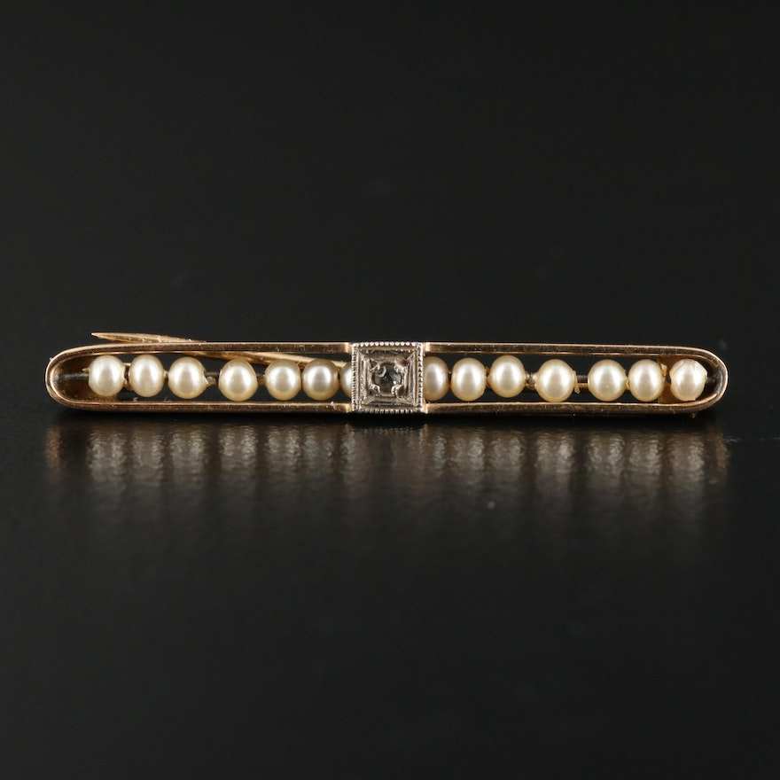 Early 1900s 14K Sapphire And Pearl Lingerie Pin