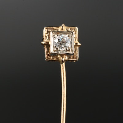 Art Deco 14K Diamond Stick Pin with 10K Stem