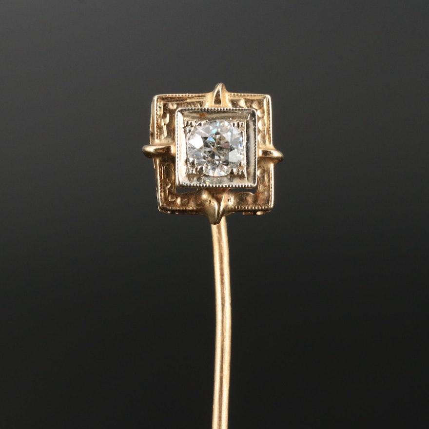 Art Deco 14K Diamond Stick Pin with 10K Stem