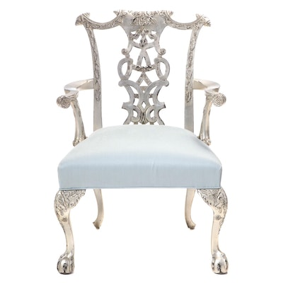 Chippendale Style Silver-Leafed Upholstered Arm Chair