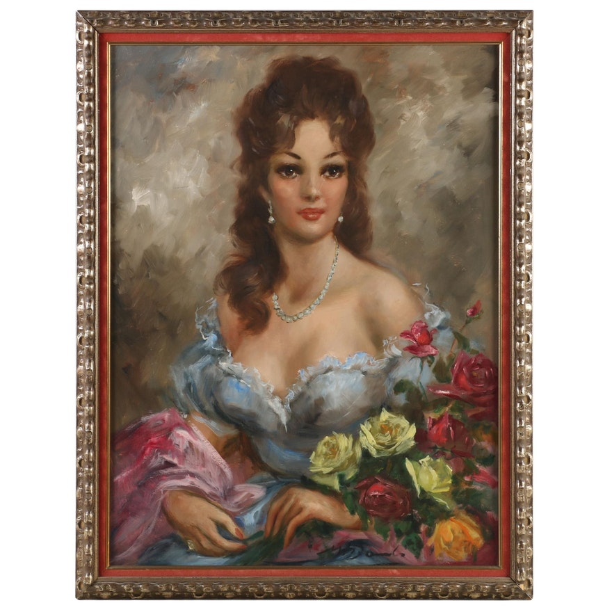 Portrait Oil Painting of Woman in Blue Gown, Late 20th Century