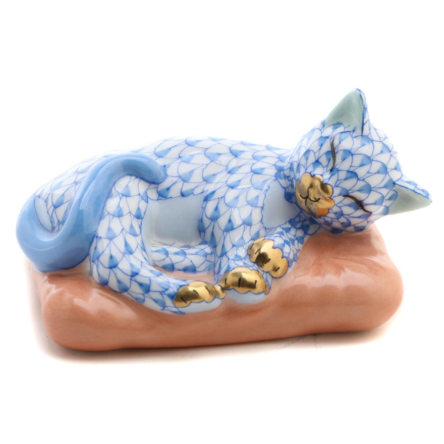 """Herend Blue Fishnet with Gold """"Cat on Pillow"""" Porcelain Figurine"""