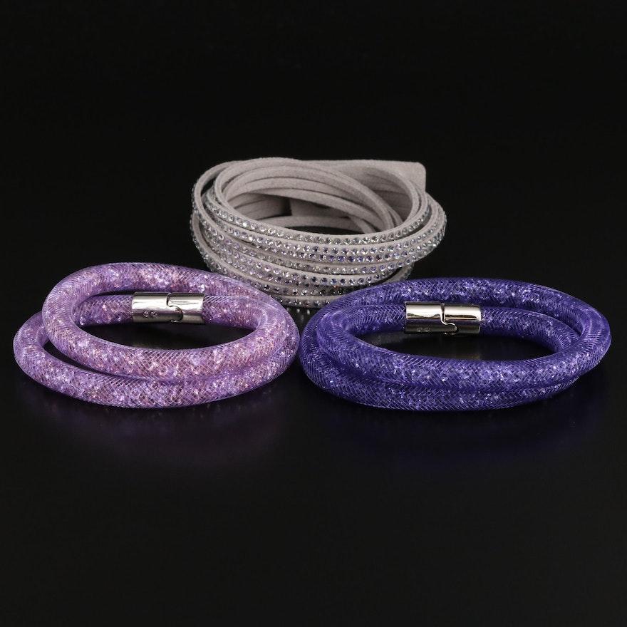 """Swarovski Crystal """"Stardust"""" Wrap and Suede Wrap Bracelets"""
