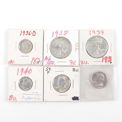 Six Vintage U.S. Silver Coins