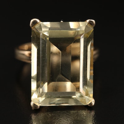 14K 11.80 CT Citrine Solitaire Ring