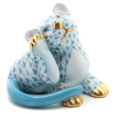 "Herend Turquoise Fishnet with Gold ""Tiger Cub"" Porcelain Figurine"