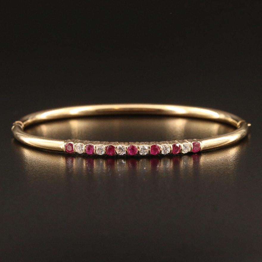 G. B. Rinegold 14K Ruby and Diamond Hinged Bangle