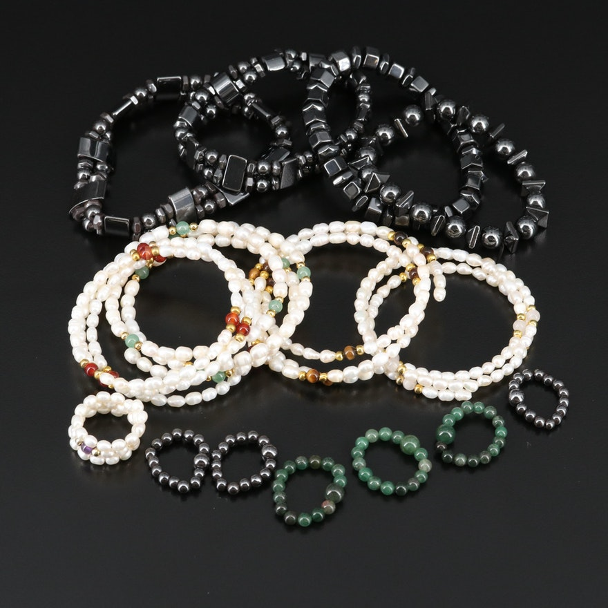 Assorted Jewelry Featuring Pearl Wrap Bracelets, Hematite Bracelets and Rings
