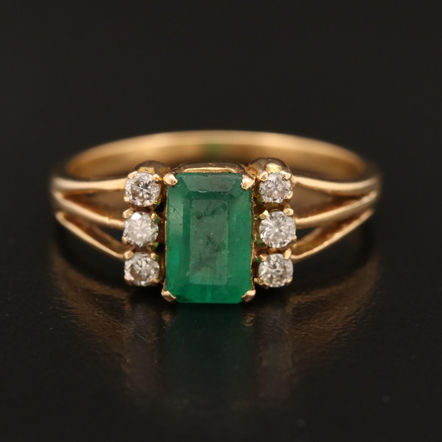 18K Emerald and Diamond Split Shank Ring
