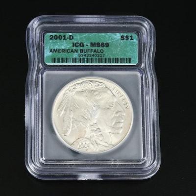 ICG Graded MS69 2001-D American Buffalo Commemorative Silver Dollar Coin
