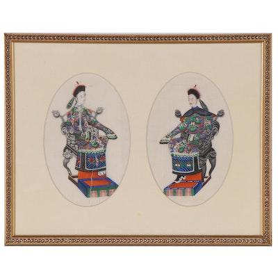 Chinese Gouache Ancestor Portraits, 19th Century
