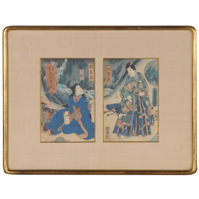 Kunisada Ukiyo-e Woodblock Diptych, Mid-19th Century