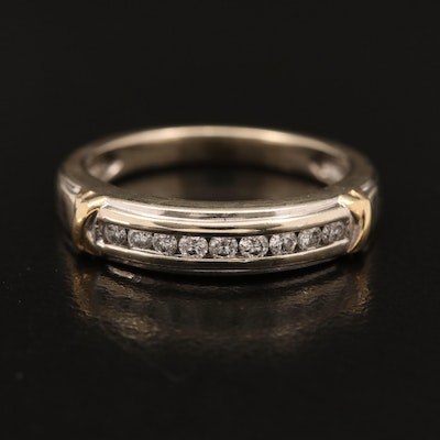 10K Diamond Channel Band with Crossover Accents
