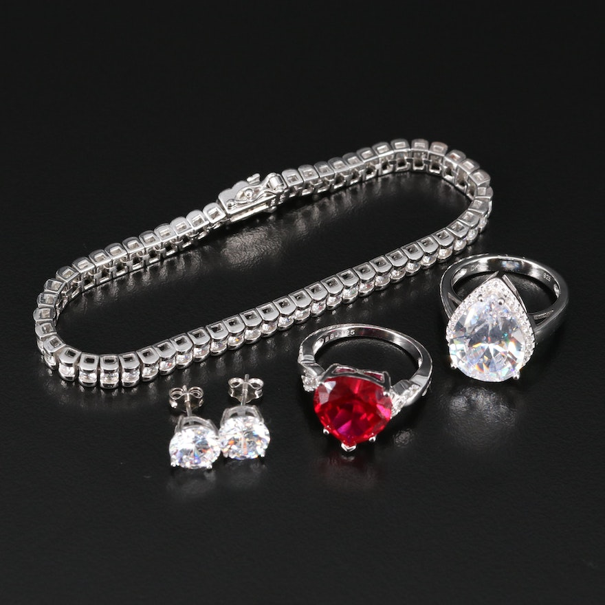 Sterling Silver Jewelry Including Bracelet, Rings and Earrings